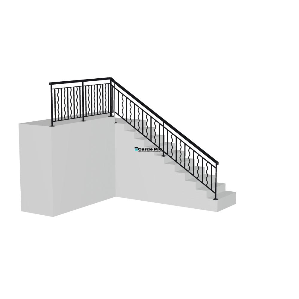Rambarde escalier relief